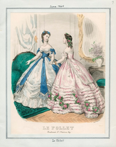 1864. evening dresses, Le Follet, june