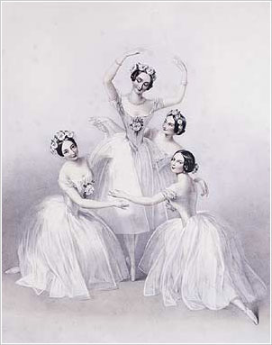 1845. Carlotta Grisi (left), Marie Taglioni (center), Lucille Grahn (right back), and Fanny Cerrito (right front) in Pas de Quatre, London