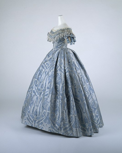 1860. pale blue ball gown