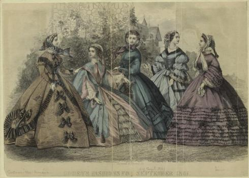 1861. Godey's Lady's Book Fashions, September