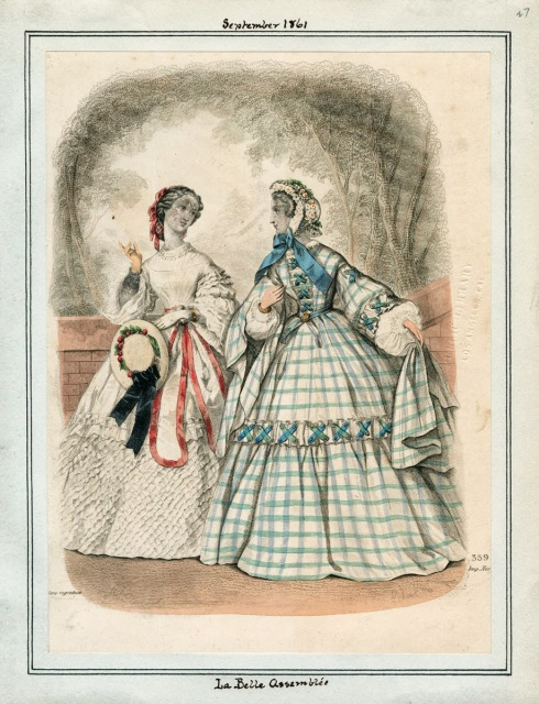 1861. outdoor dresses, La Belle Assemblee, september