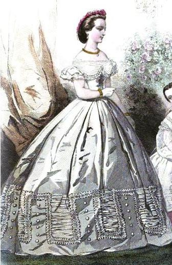 1862. nice white evening dress, Journal des demoiselles