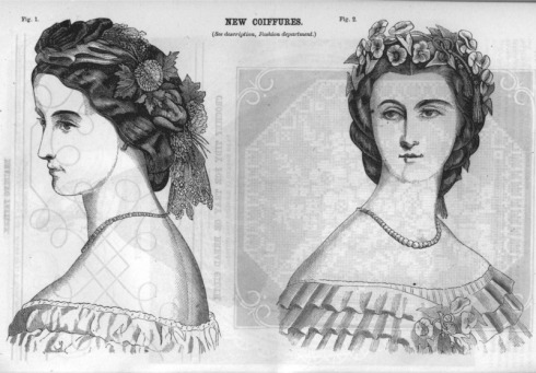 1863. Civil War Era Ladies' Hair Styles, Godey's Lady's Book, June
