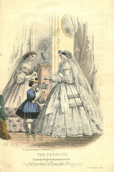Victorian fashion plate of wedding dress 1861