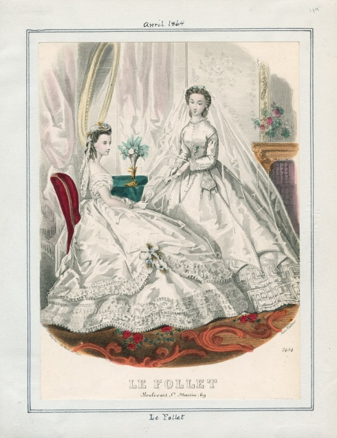 1864. wedding dresses, Le Follet, april