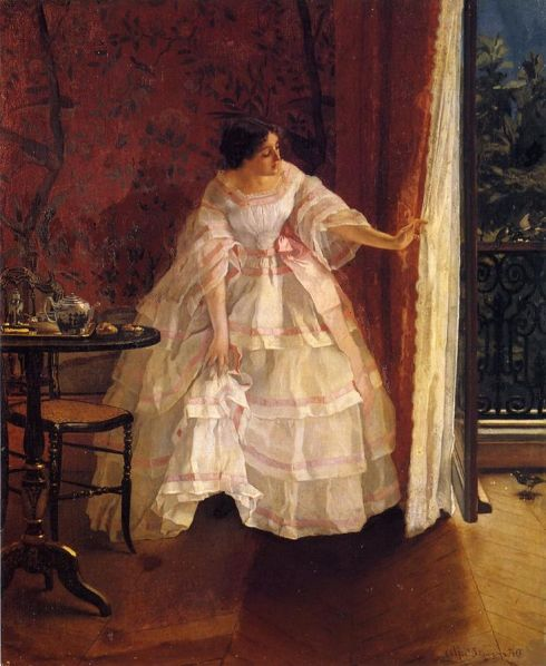 1859. Lady at a Window Feeding Birds by Alfred Stevens